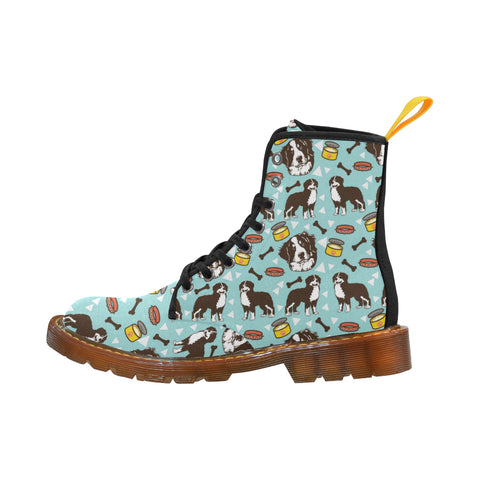 Bernese Mountain Pattern Black Martin Boots For Women - TeeAmazing