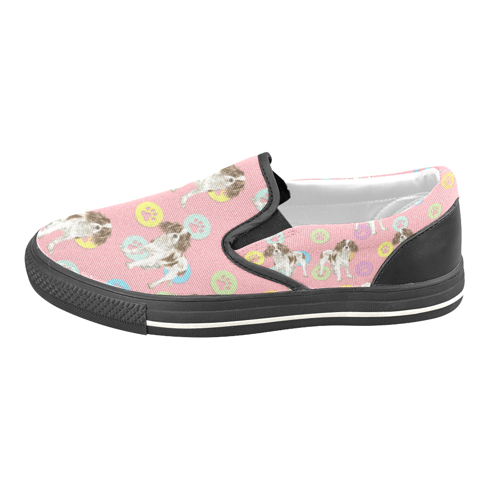 Cavalier King Charles Spaniel Water Colour Pattern No.1 Black Women's Slip-on Canvas Shoes/Large Size (Model 019) - TeeAmazing