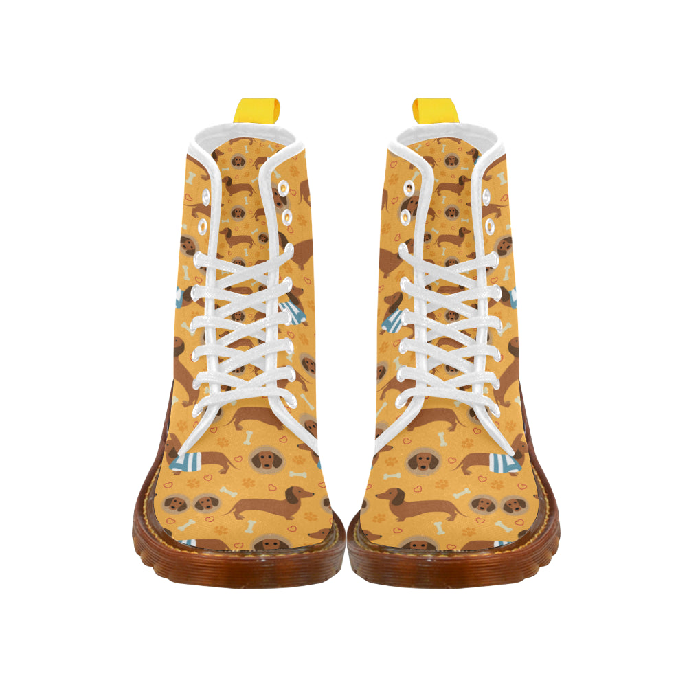 Dachshund Pattern White Boots For Women - TeeAmazing