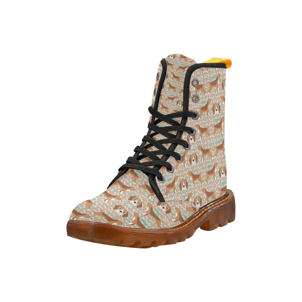 Beagle Pattern Black Boots For Women - TeeAmazing