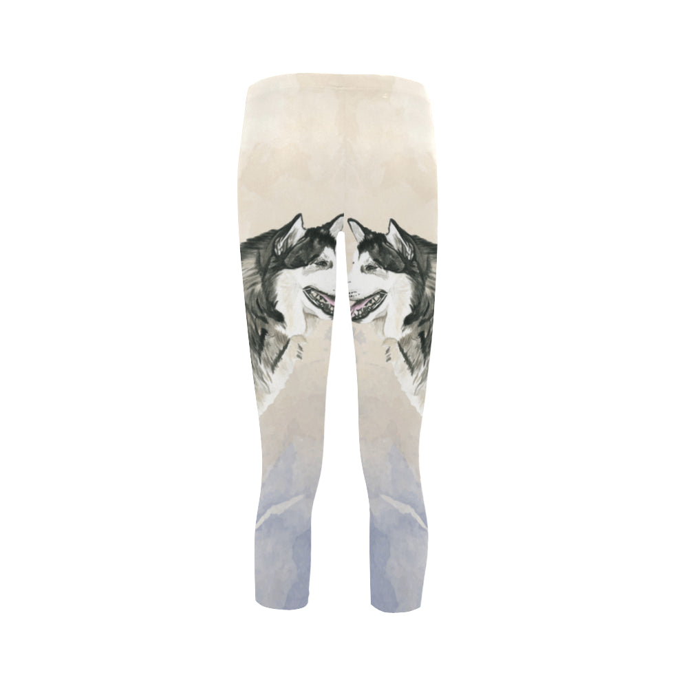 Alaskan Malamute Water Colour Capri Legging - TeeAmazing