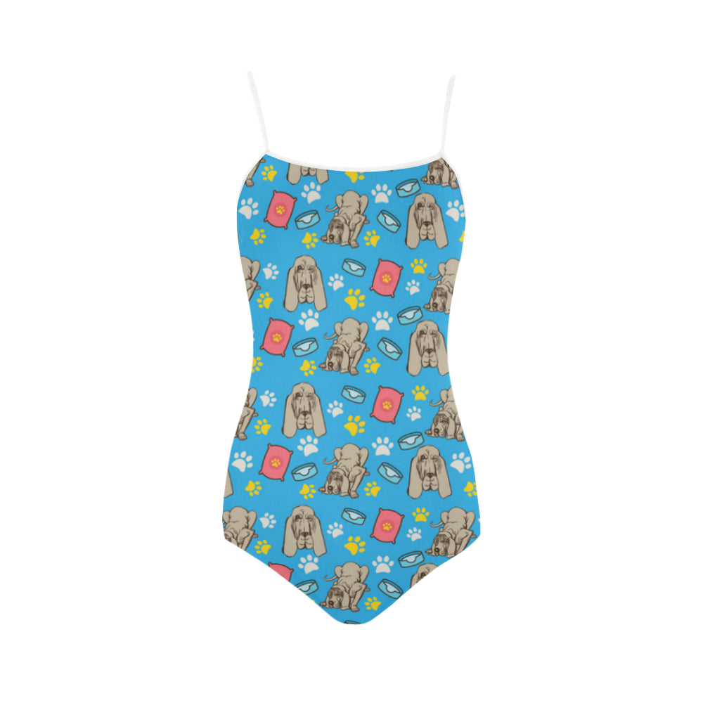 Bloodhound Pattern Strap Swimsuit - TeeAmazing