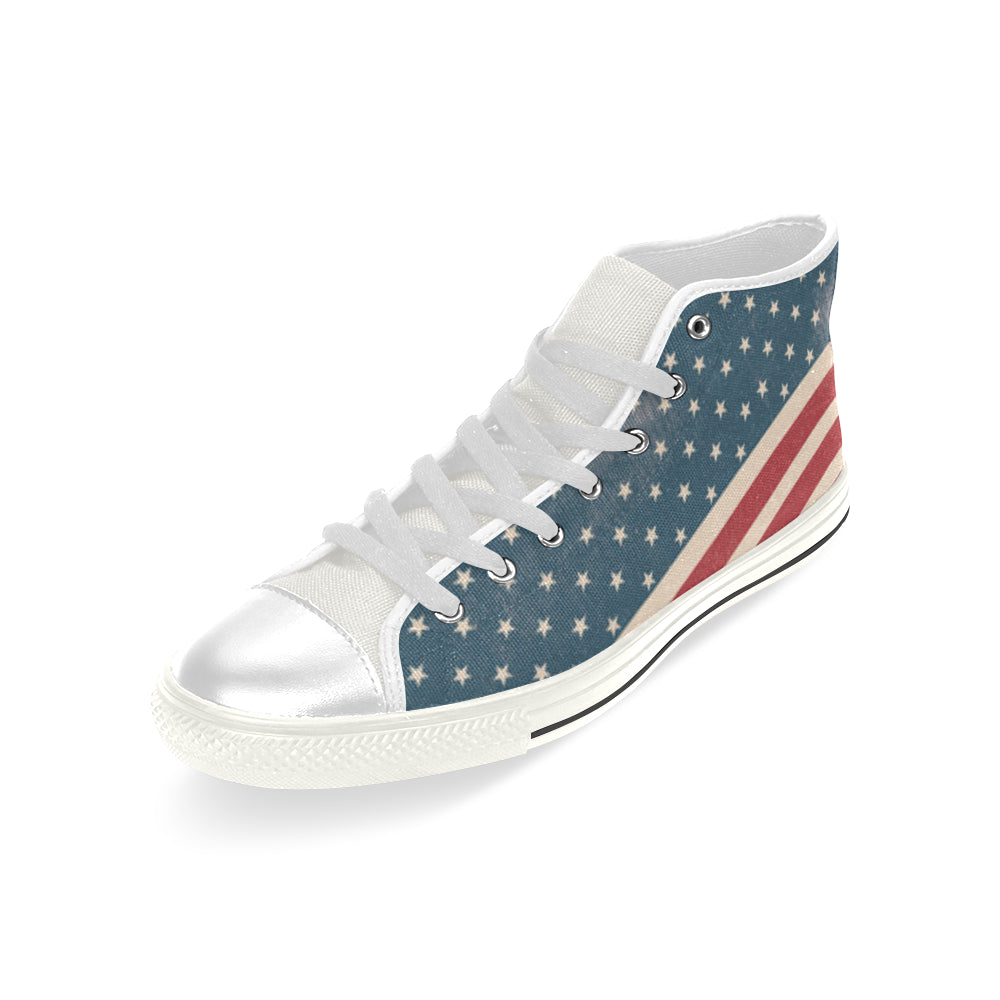 4th July V2 White Men's Classic High Top Canvas Shoes - TeeAmazing