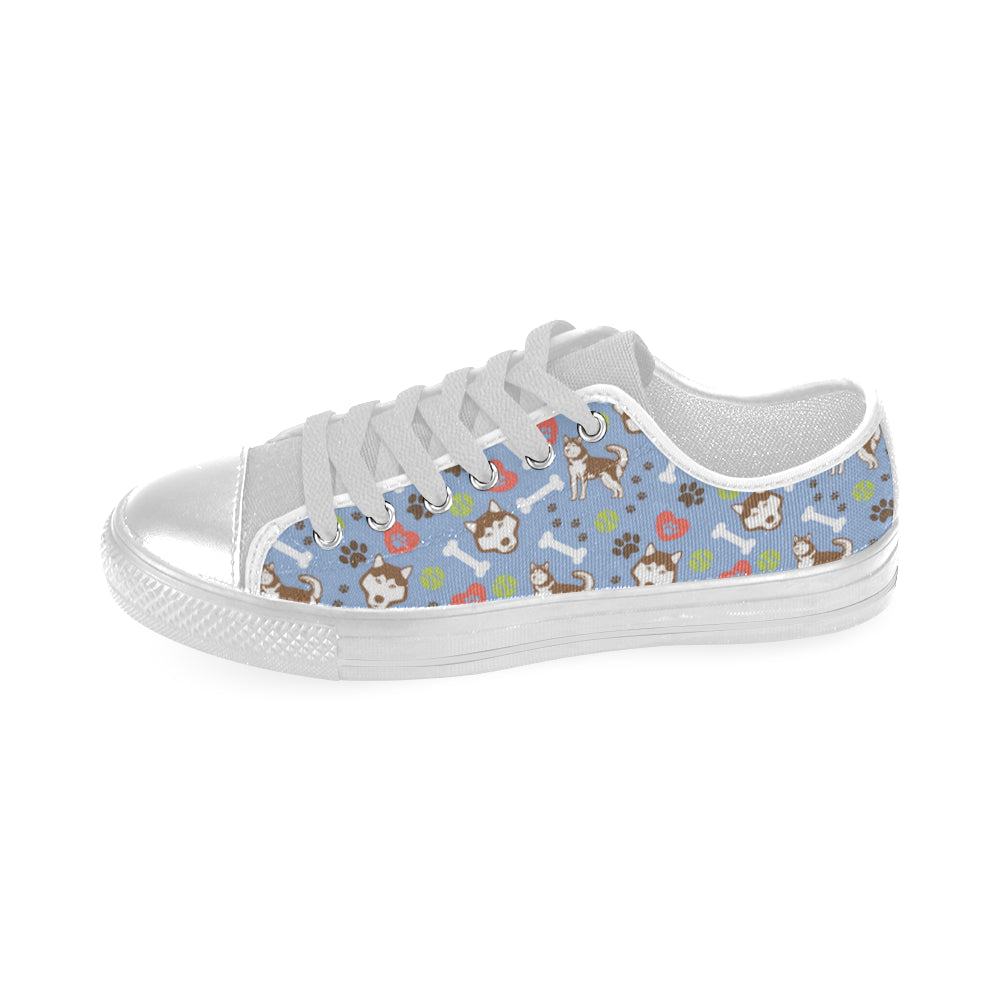 Alaskan Malamute Pattern White Low Top Canvas Shoes for Kid - TeeAmazing