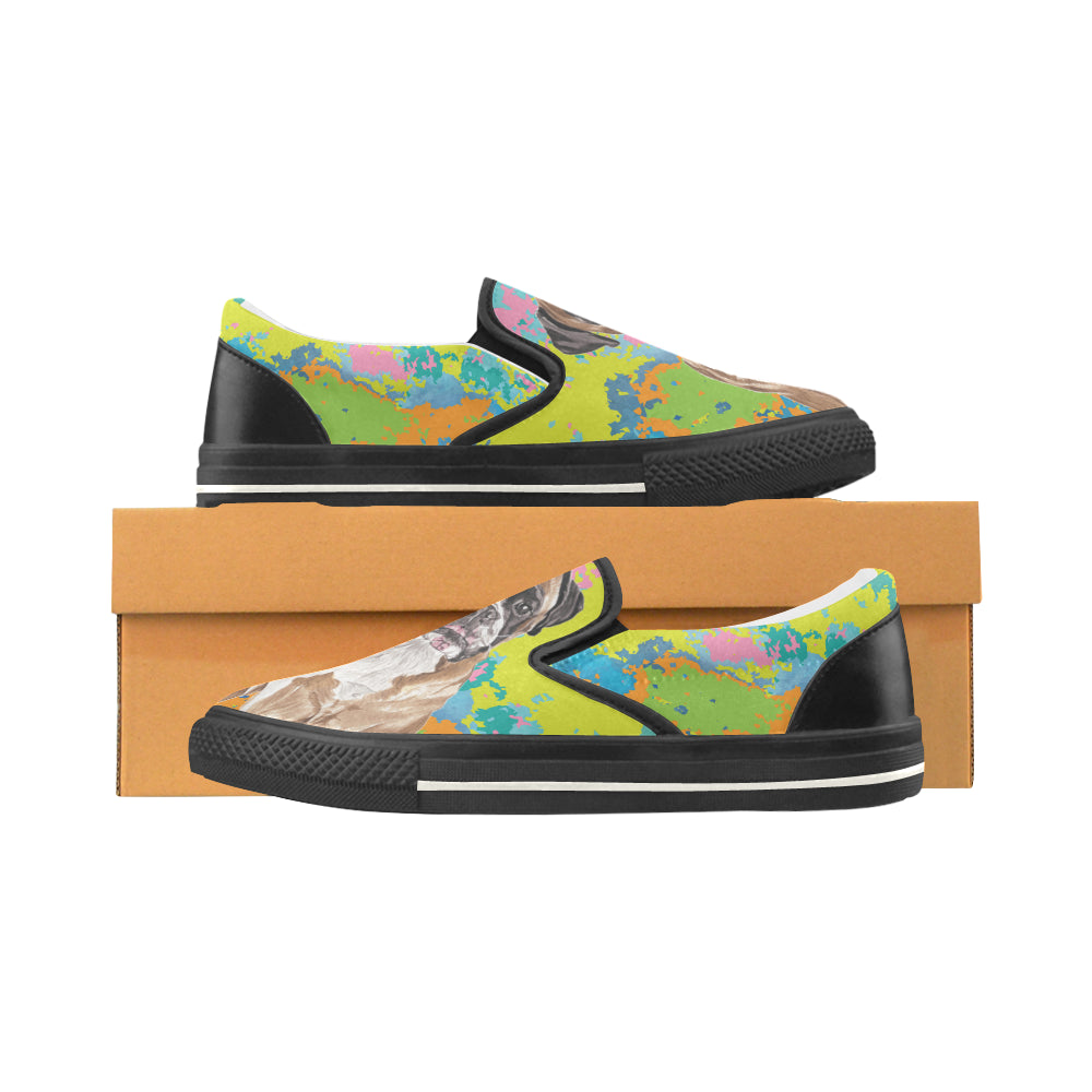 Boxer Water Colour No.2 Black Women's Slip-on Canvas Shoes/Large Size (Model 019) - TeeAmazing