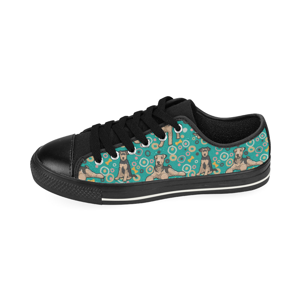 Airedale Terrier Pattern Black Low Top Canvas Shoes for Kid - TeeAmazing
