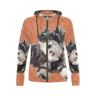 Miniature Schnauzer All Over Print Full Zip Hoodie for Women - TeeAmazing