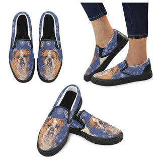 English Bulldog Lover Black Women's Slip-on Canvas Shoes - TeeAmazing