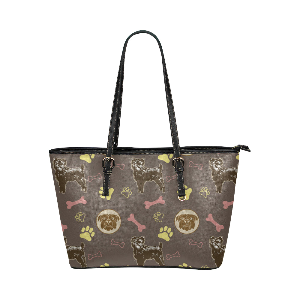Affenpinschers Pattern Leather Tote Bag/Small - TeeAmazing