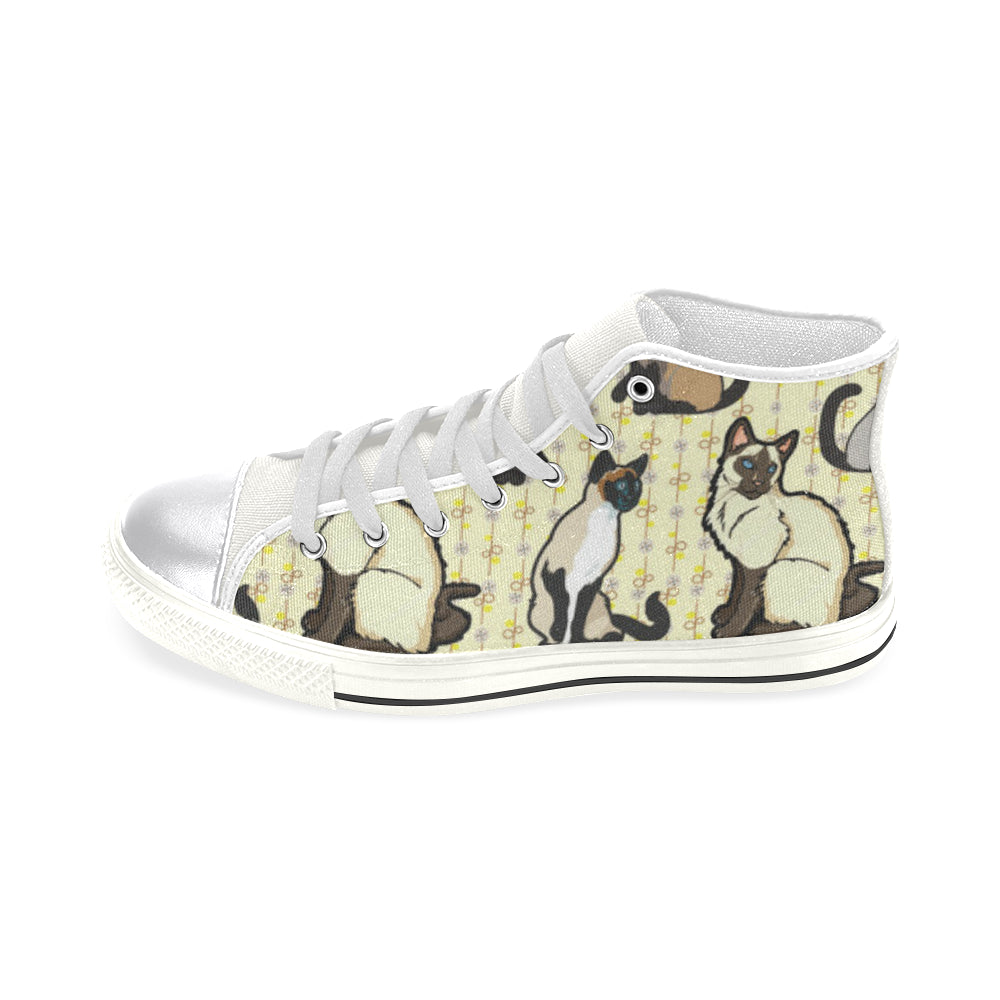 Siamese White Women's Classic High Top Canvas Shoes (Model 017) - TeeAmazing