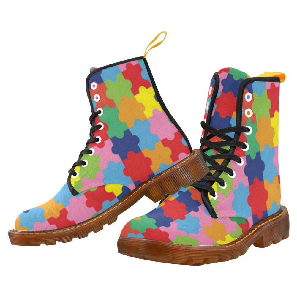 Autism Black Boots For Men - TeeAmazing