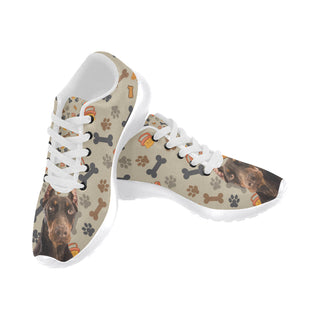 Doberman Dog White Sneakers Size 13-15 for Men - TeeAmazing