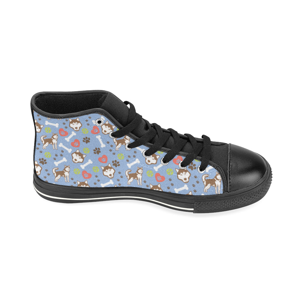 Alaskan Malamute Pattern Black High Top Canvas Women's Shoes/Large Size - TeeAmazing