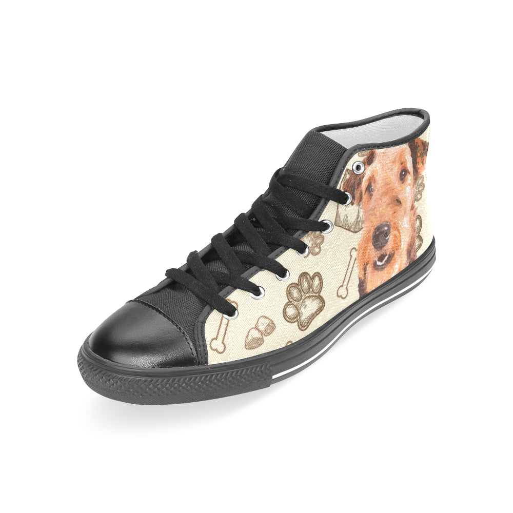 Airedale Terrier Black Women's Classic High Top Canvas Shoes - TeeAmazing
