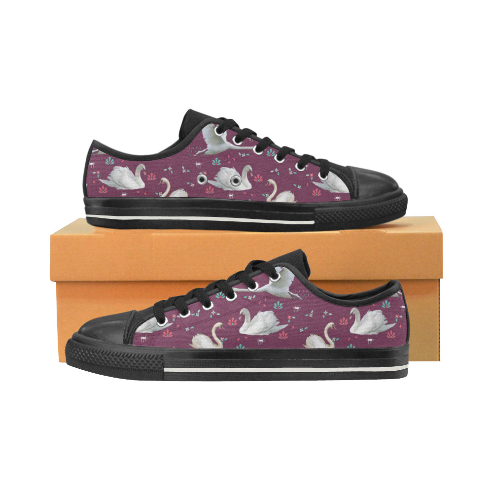 Swan Black Low Top Canvas Shoes for Kid - TeeAmazing