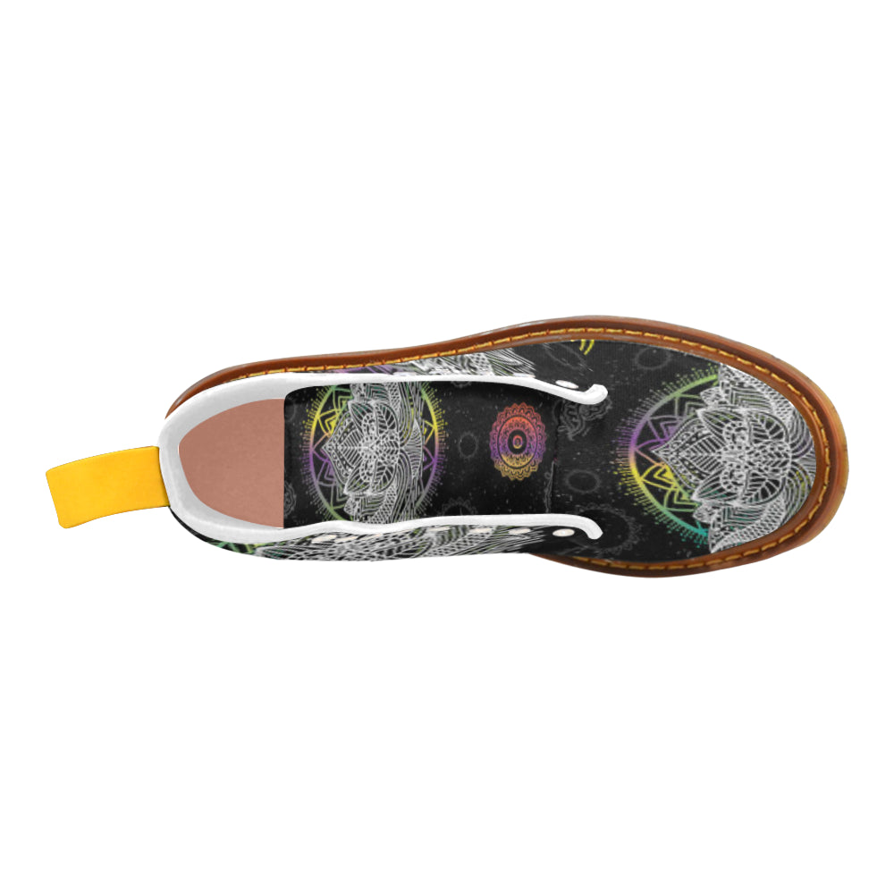 Lotus and Mandalas White Boots For Women - TeeAmazing