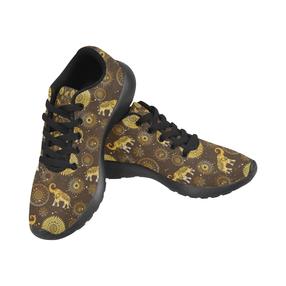 Elephant and Mandalas Black Sneakers for Men - TeeAmazing