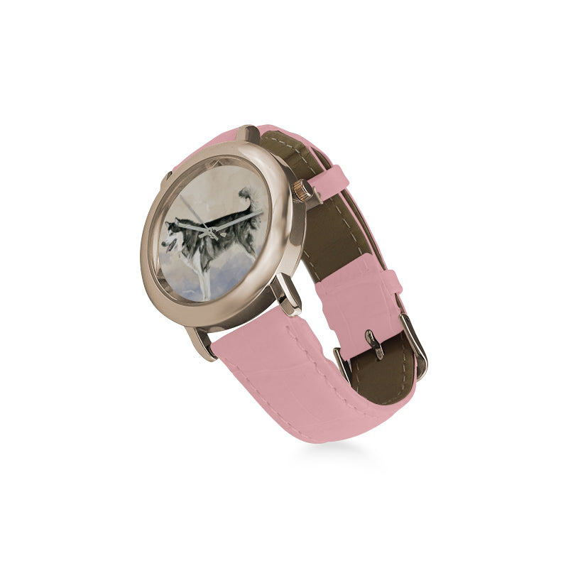 Alaskan Malamute Water Colour Women's Rose Gold Leather Strap Watch - TeeAmazing