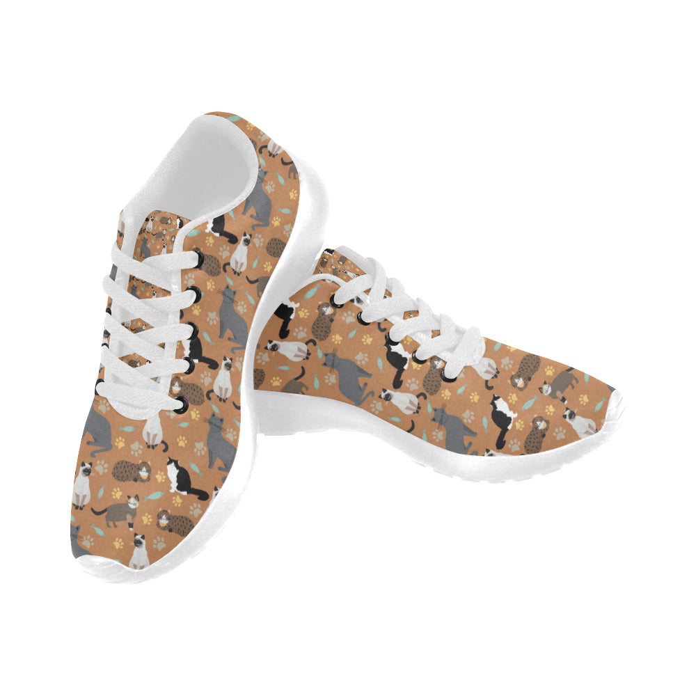 Cat Pattern White Sneakers Size 13-15 for Men - TeeAmazing