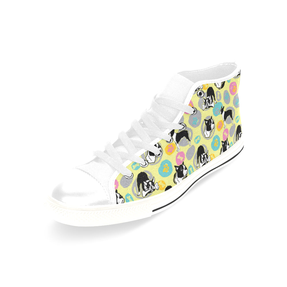 Boston Terrier Pattern White Men's Classic High Top Canvas Shoes /Large Size - TeeAmazing