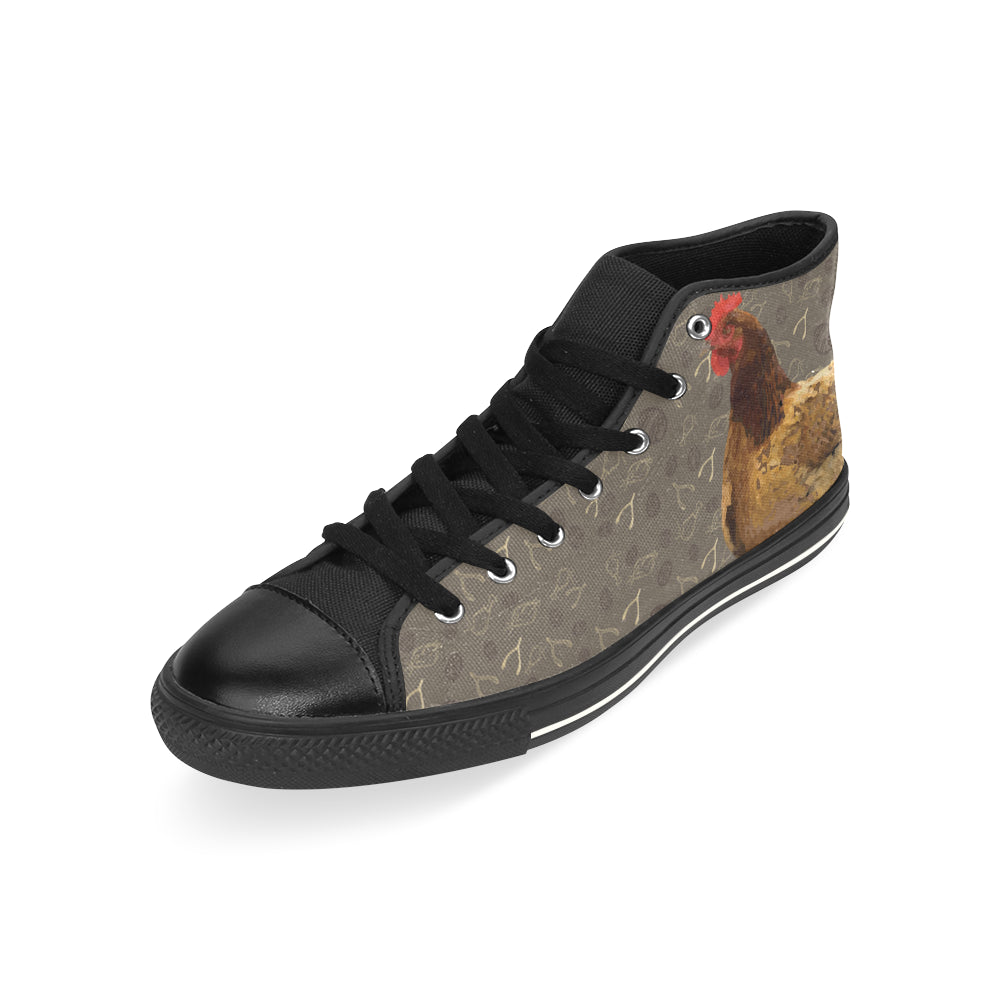 Chicken Footprint Black High Top Canvas Women's Shoes/Large Size - TeeAmazing