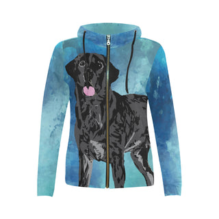 Black Lab All Over Print Full Zip Hoodie for Women - TeeAmazing