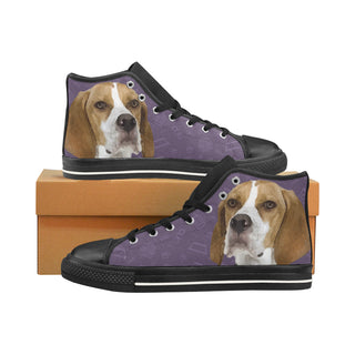 English Pointer Dog Black Men's Classic High Top Canvas Shoes /Large Size (Model 017) - TeeAmazing