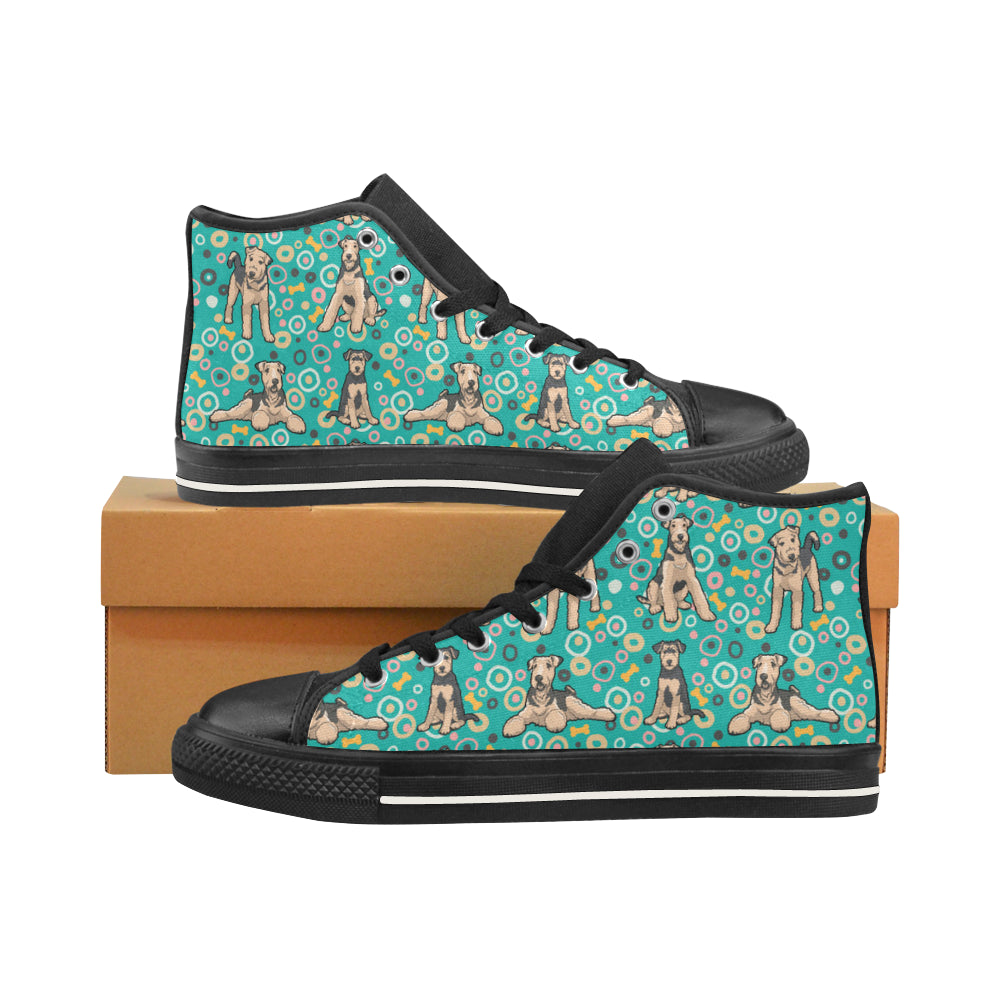 Airedale Terrier Pattern Black Men's Classic High Top Canvas Shoes /Large Size - TeeAmazing
