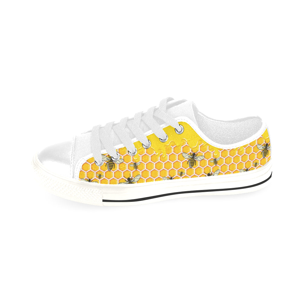 Bee Pattern White Men's Classic Canvas Shoes/Large Size - TeeAmazing