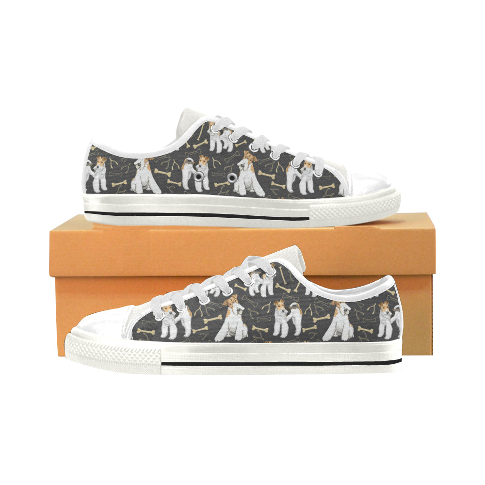Wire Hair Fox Terrier White Men's Classic Canvas Shoes - TeeAmazing