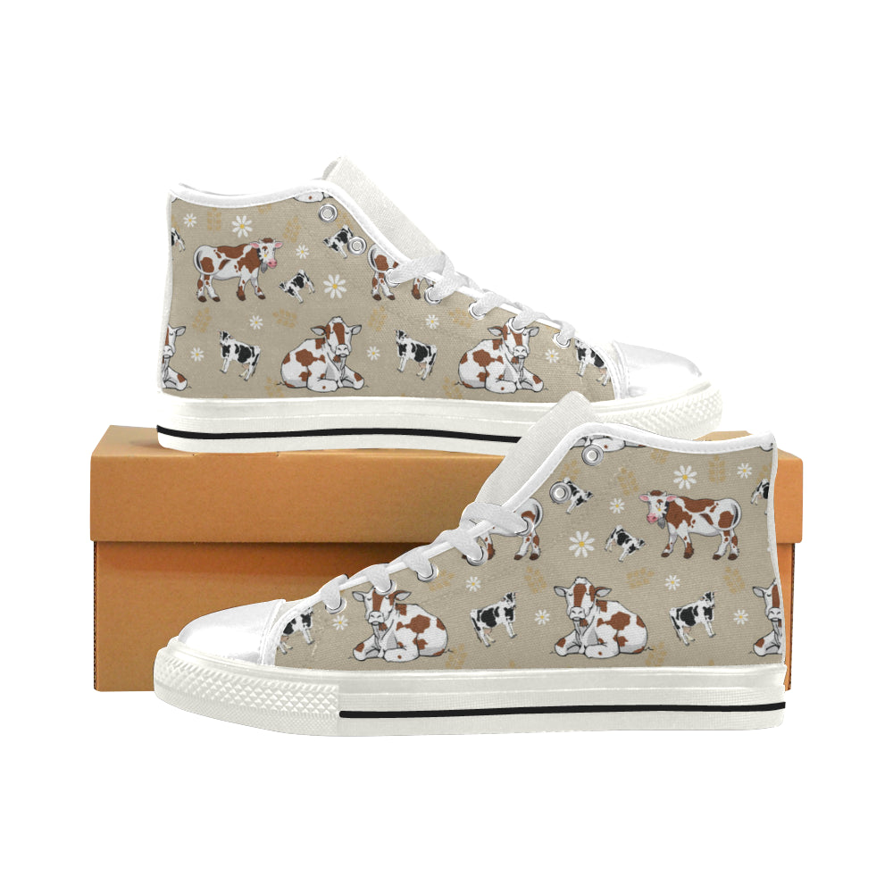 Cow Pattern White Men's Classic High Top Canvas Shoes - TeeAmazing