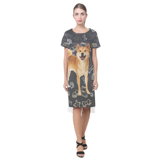 Shiba Inu Dog Short Sleeves Casual Dress - TeeAmazing