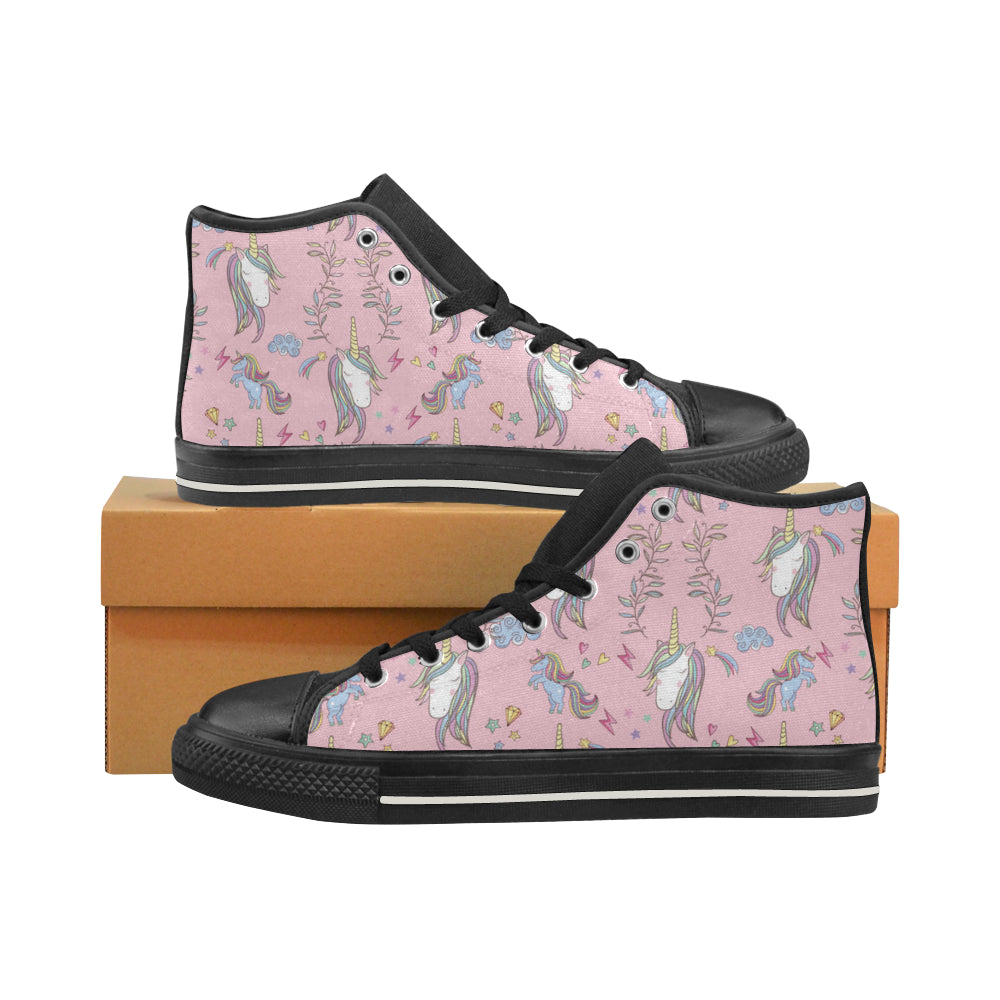 Unicorn Pattern V2 Black High Top Canvas Women's Shoes/Large Size - TeeAmazing