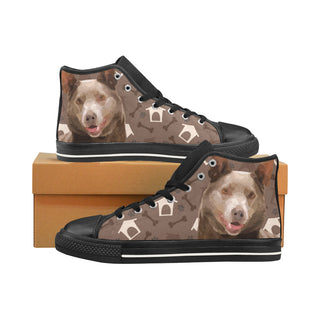 Australian Kelpie Dog Black Men's Classic High Top Canvas Shoes /Large Size (Model 017) - TeeAmazing