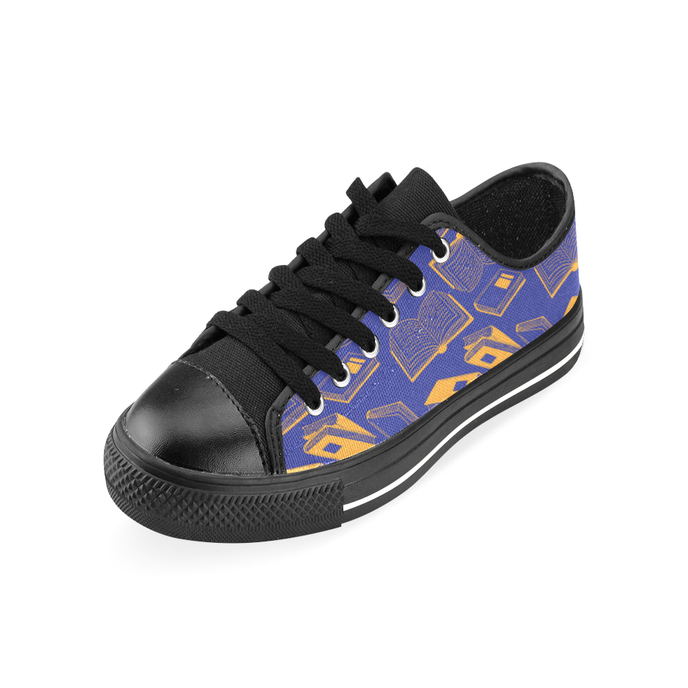 Book Pattern Black Men's Classic Canvas Shoes/Large Size - TeeAmazing