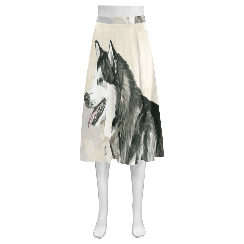 Alaskan Malamute Water Colour Mnemosyne Women's Crepe Skirt (Model D16) - TeeAmazing