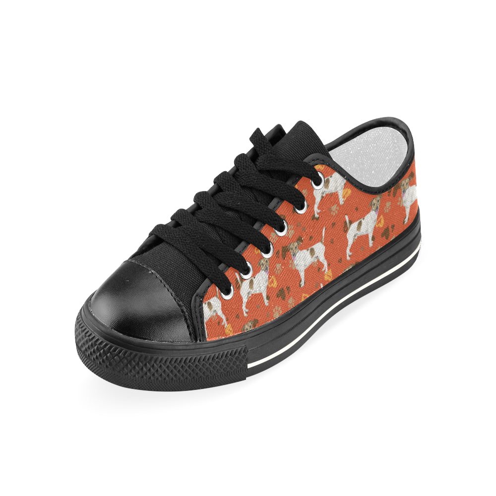 ce9dadc7de2 ... Jack Russell Terrier Water Colour Pattern No.1 Black Women s Classic  Canvas Shoes - TeeAmazing