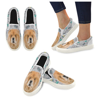 Chow Chow Dog White Women's Slip-on Canvas Shoes - TeeAmazing