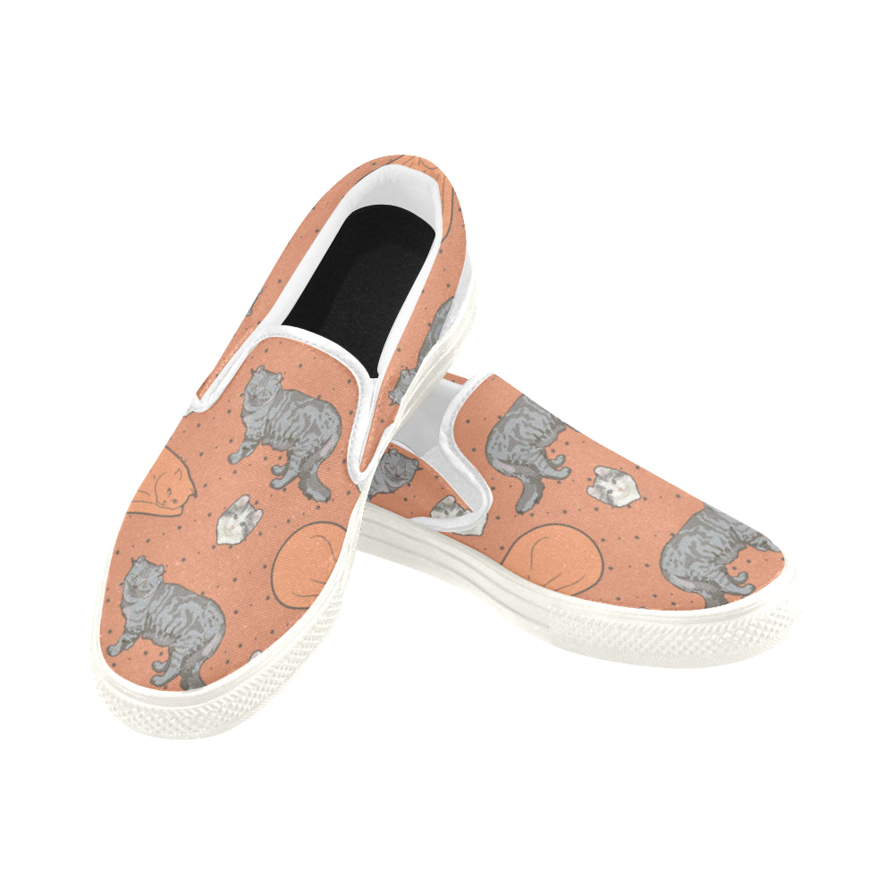 American Curl White Women's Slip-on Canvas Shoes (Model 019) - TeeAmazing