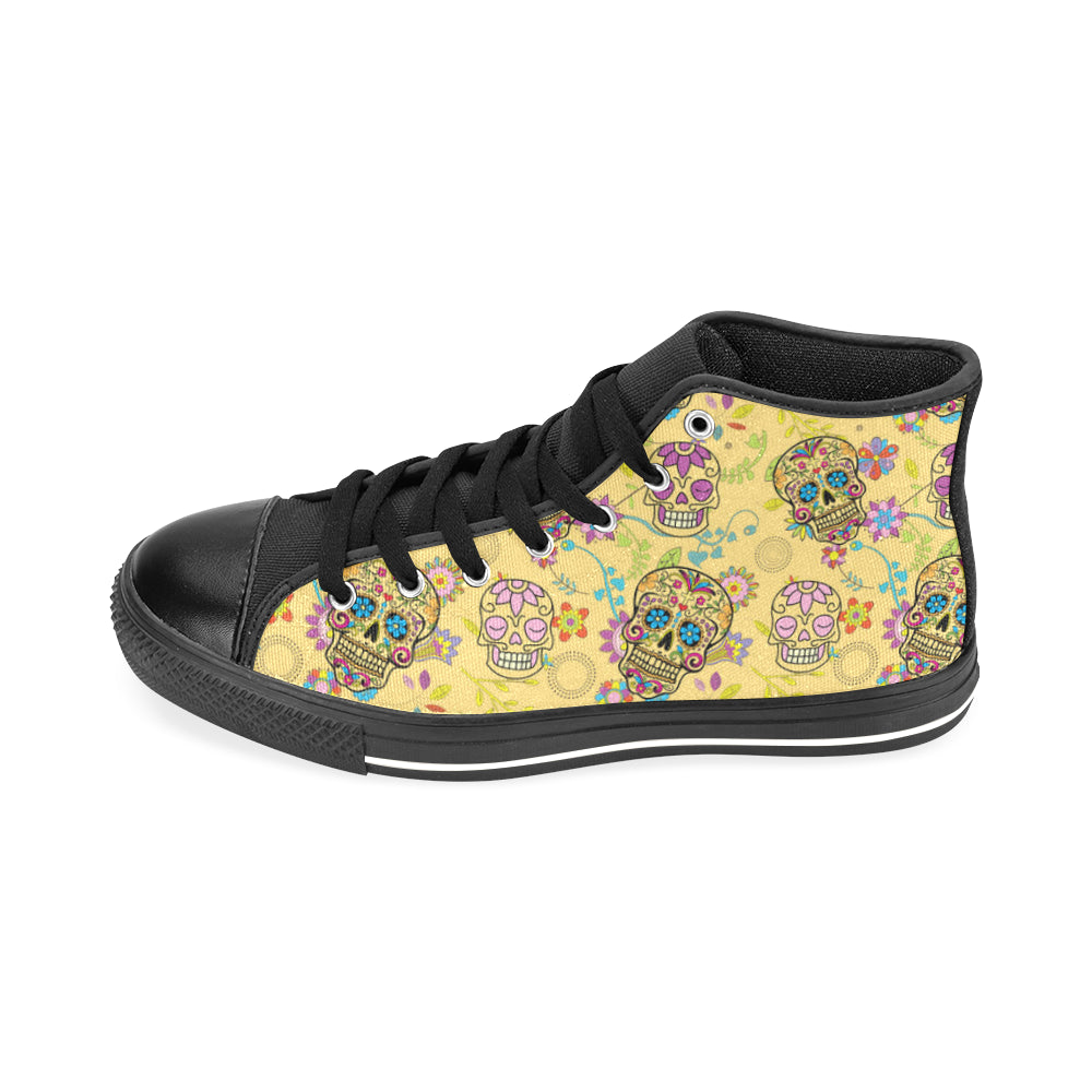 Sugar Skull Black Men's Classic High Top Canvas Shoes /Large Size - TeeAmazing