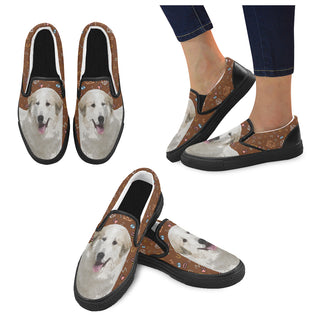 Great Pyrenees Dog Black Women's Slip-on Canvas Shoes - TeeAmazing