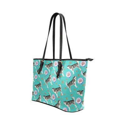 Alaskan Malamute Water Colour Pattern No.1 Leather Tote Bag/Small - TeeAmazing