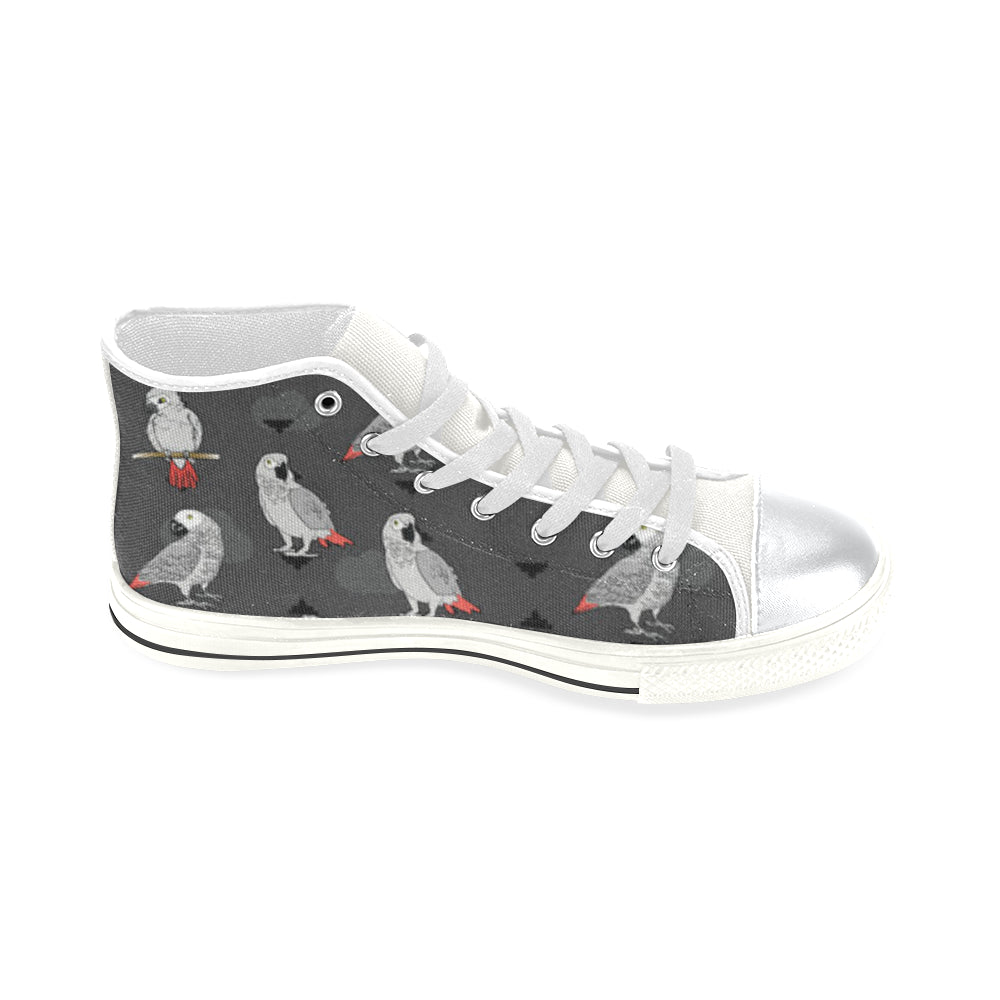 African Greys White High Top Canvas Women's Shoes/Large Size - TeeAmazing
