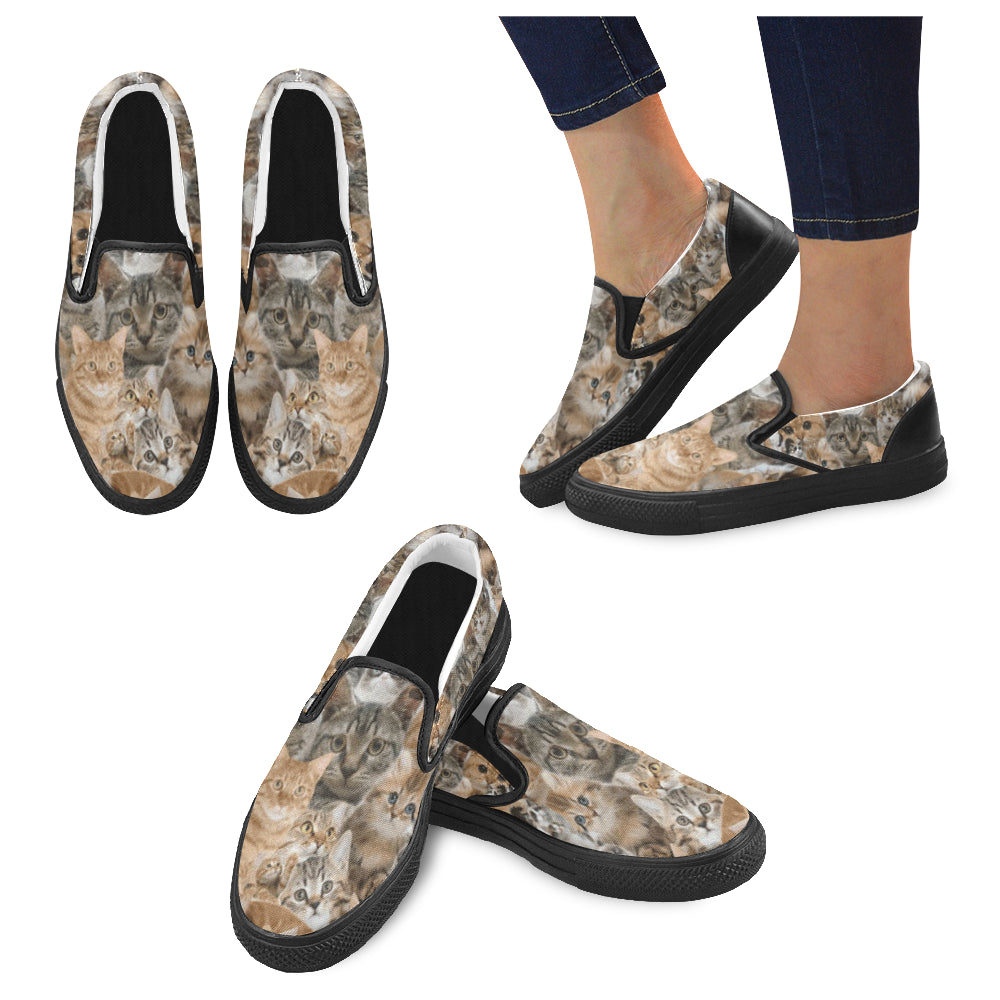 Cat Black Women's Slip-on Canvas Shoes - TeeAmazing