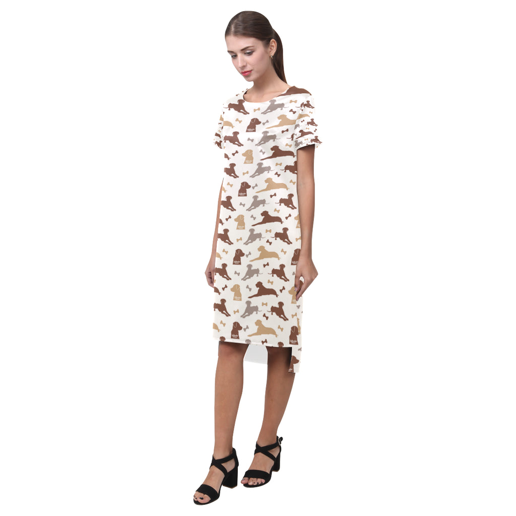 Labrador Retriever Pattern Short Sleeves Casual Dress - TeeAmazing