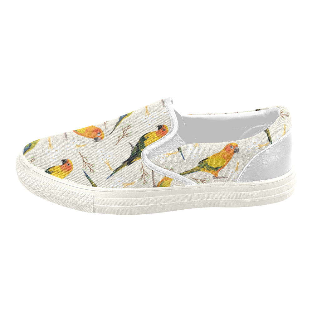 Conures White Women's Slip-on Canvas Shoes - TeeAmazing