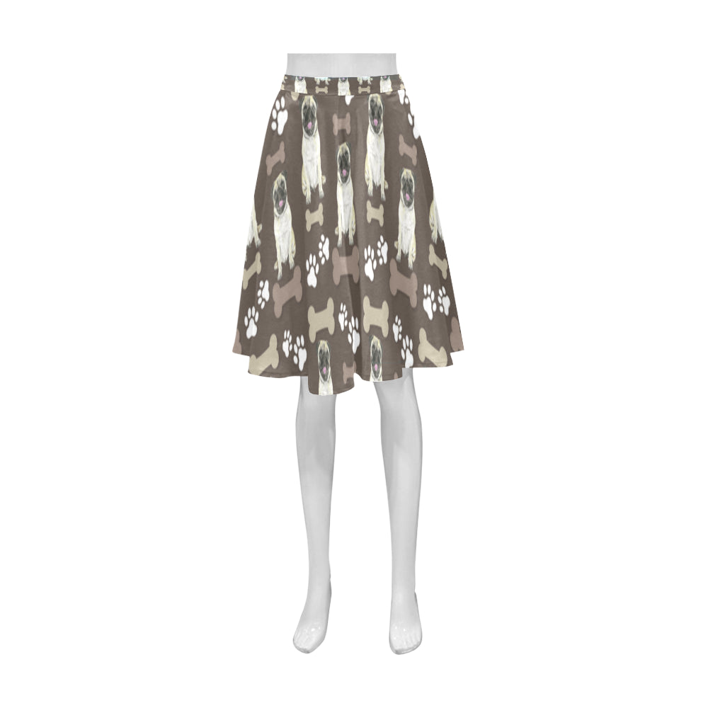 Pug Water Colour Pattern No.1 Athena Women's Short Skirt - TeeAmazing
