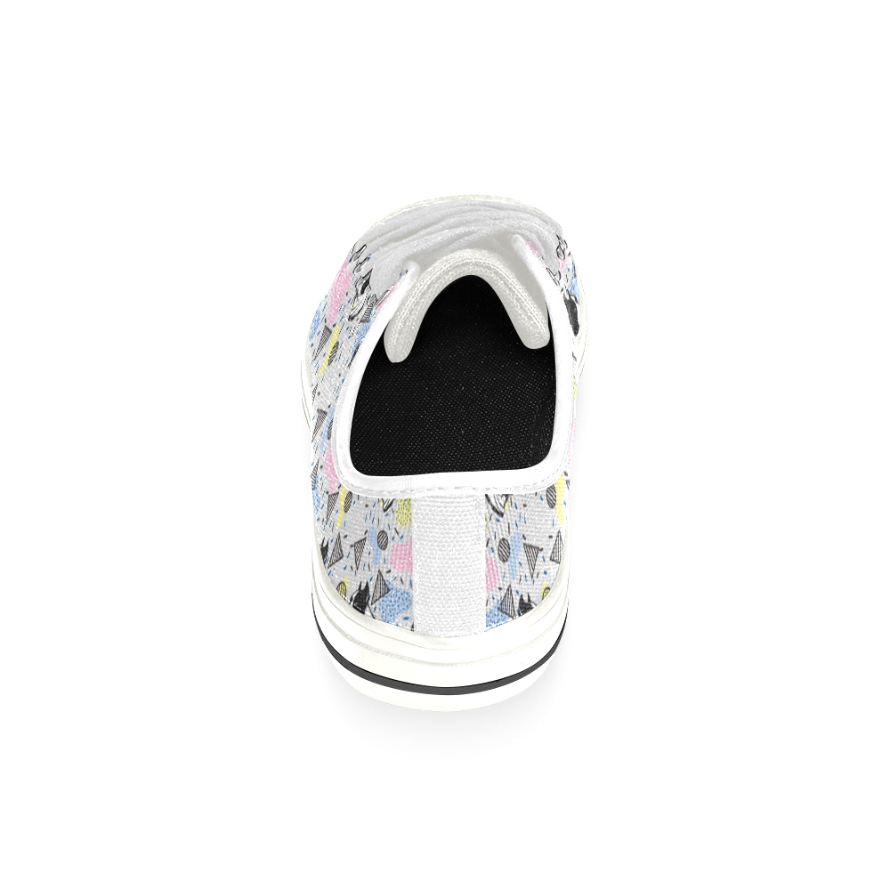 American Staffordshire Terrier Pattern White Low Top Canvas Shoes for Kid - TeeAmazing