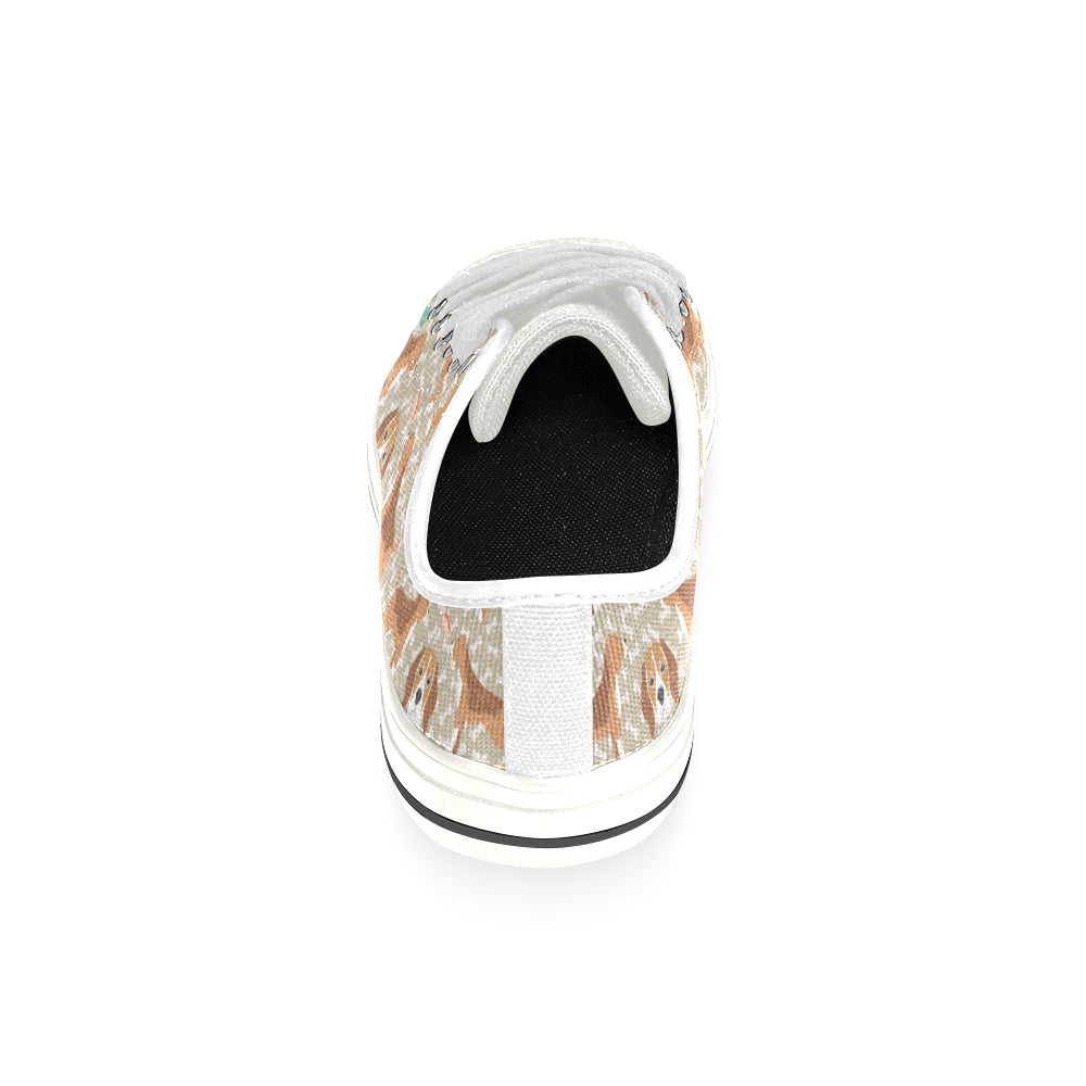 Beagle Pattern White Low Top Canvas Shoes for Kid - TeeAmazing
