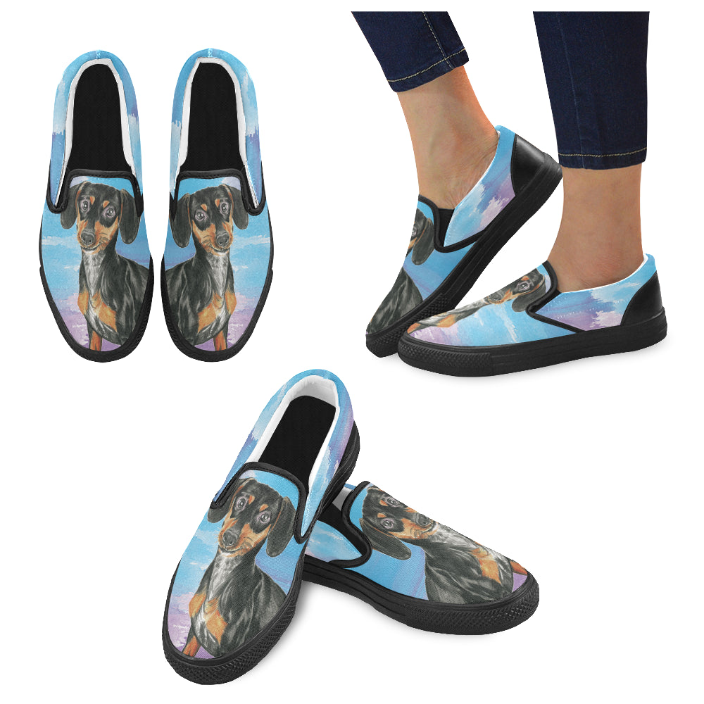 Dachshund Water Colour No.1 Black Women's Slip-on Canvas Shoes - TeeAmazing